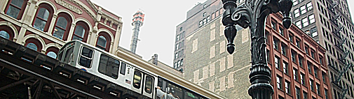 The L, Chicago, Wabash St, Subway Train, Borsuk Design, Urban, Cityscape, Graphic Design